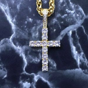 "925 Gold Finish Cross + 18""Franco Chain"